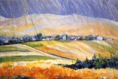 Nógrádi táj esőben 2002. 50×100cm, olaj, vászon