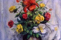 Csendélet rózsákkal 1998. 30×40cm, pasztell